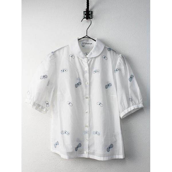 mina perhonen ミナペルホネン choucho 刺繍 コットン 半袖 シャツ 36/ホワイト トップス ブラウス【2400011612861】