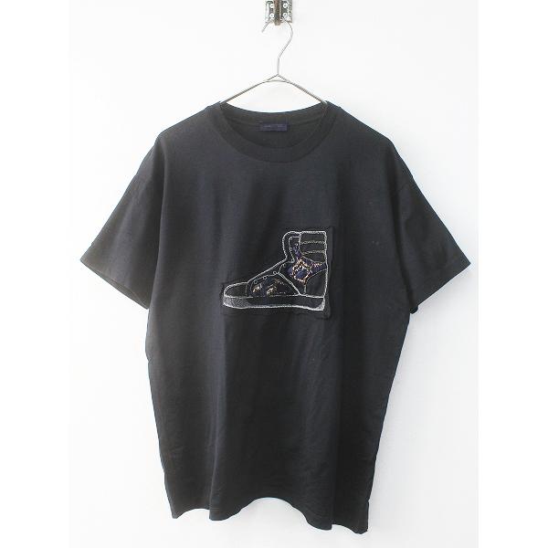 LANVIN ランバン スニーカー刺繍 Tシャツ メンズ XS/ブラック クロ トップス 半袖 MENS【2400011613318】