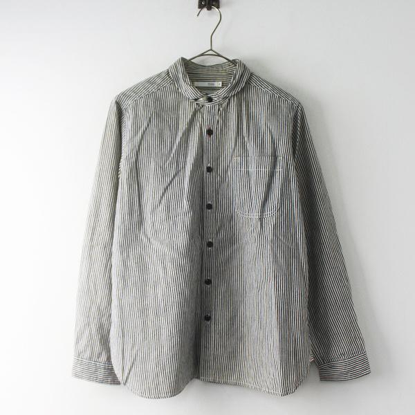 NATURAL LAUNDRY ナチュラルランドリー スモールラウンド カラー ストライプ ワークシャツ 2/ホワイト グレー ネイビー【2400011614117】