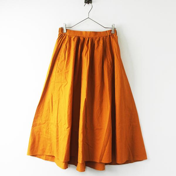 studio CLIP スタジオクリップ コットンリネン イージー フレアスカート L/オレンジ ボトムス ワイド シンプル【2400011615862】