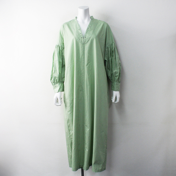 RHC Ron Herman ロンハーマン スキッパー コットン マキシ ワンピース/グリーン ドレス フレア【2400011617019】