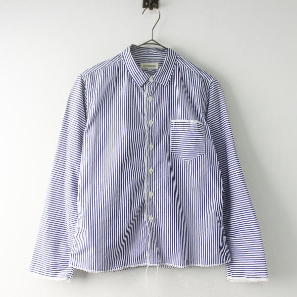 ura morikage shirt ウラ モリカゲシャツ 京都 コットン ストライプ カットオフ デザインシャツ 0/白 青 トップス【2400011621337】