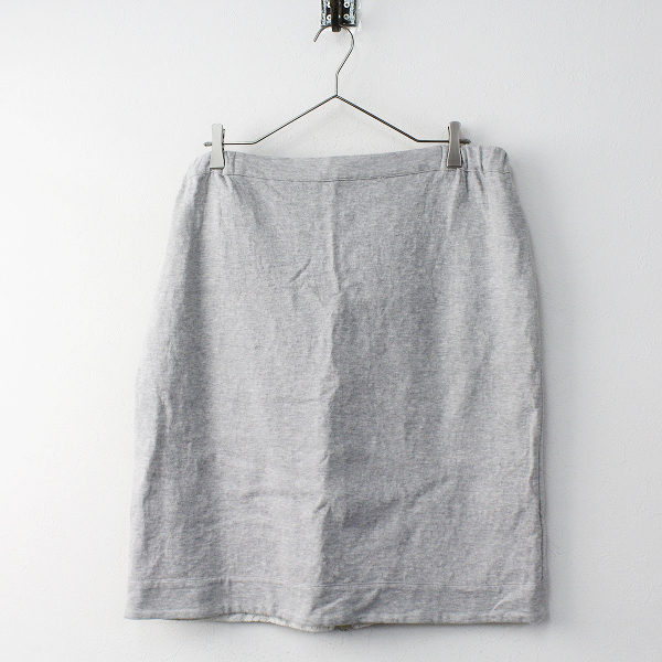 大きいサイズ Rose Tiara ローズティアラ 裏毛レースボンディングスカート 46/リーバシブル グレー【2400011623355】