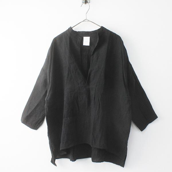 定価1.7万 Veritecoeur ヴェリテクール ST-005 リネン スキッパーシャツ FREE/ブラック ブラウス トップス -.【2400011624734】