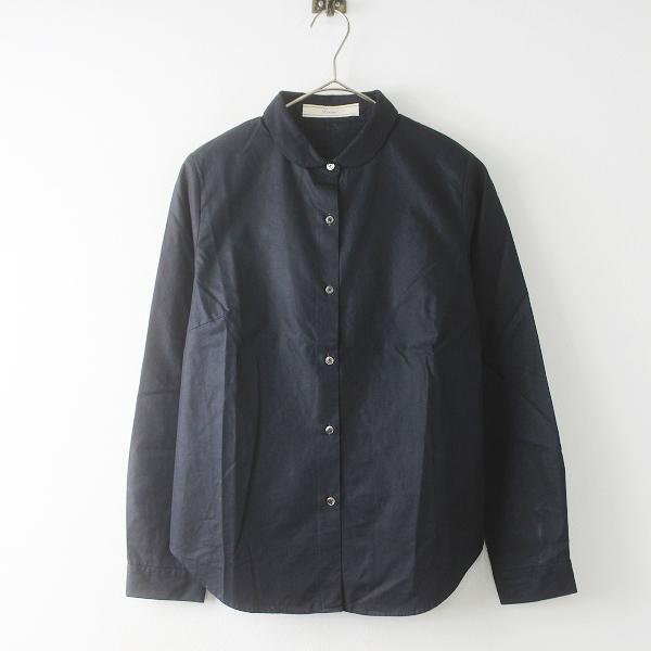 定価1.9万 Lisette リゼッタ アウラ ノアール 丸襟 コットンシャツ 36/ブラック ブラウス ハオリ ロングスリーブ【2400011626981】