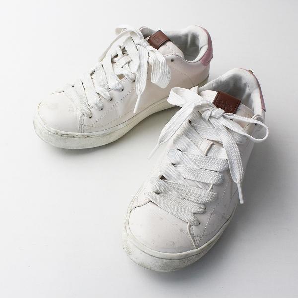 COACH コーチ ロートップ スニーカー 23/チャーム付き ピンク シューズ クツ くつ 靴 【2400011632791】