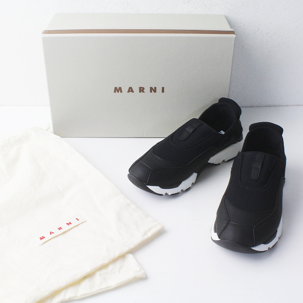 未使用品 MARNI マルニ SCARPA SNEAKER スリッポン スニーカー 36 / ブラック スカルパ シューズ【2400011632999】