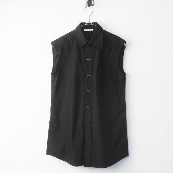 国内正規品 CELINE セリーヌ コットン ノースリーブブラウス34/ブラック トップス シャツ【2400011634573】
