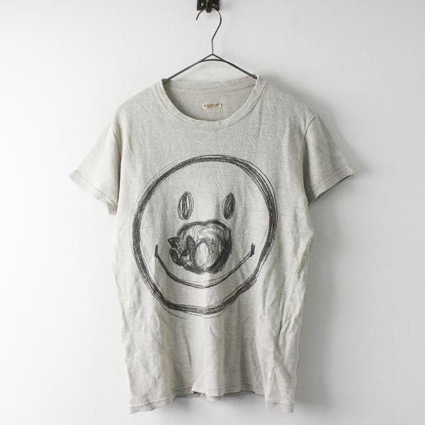 KAPITAL キャピタル スマイルプリント リネンTシャツ S/ベージュ トップス シンプル 半袖【2400011635051】