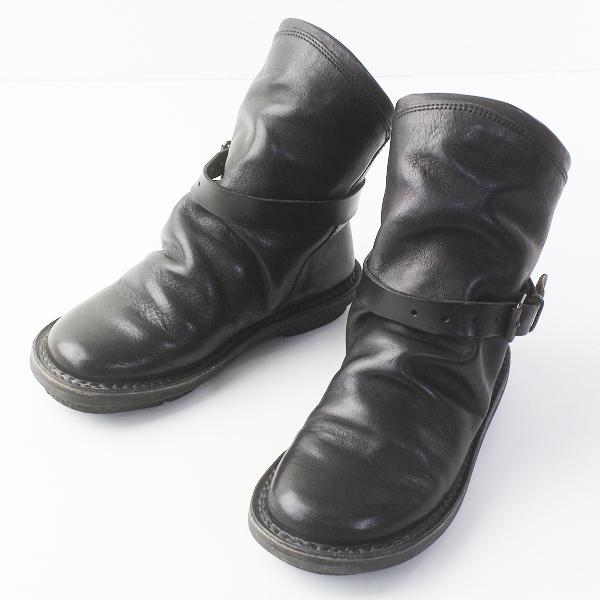trippen トリッペン BOMB ボム ベルト付き レザーショートブーツ 35/ブラック 靴 くつ【2400011640574】