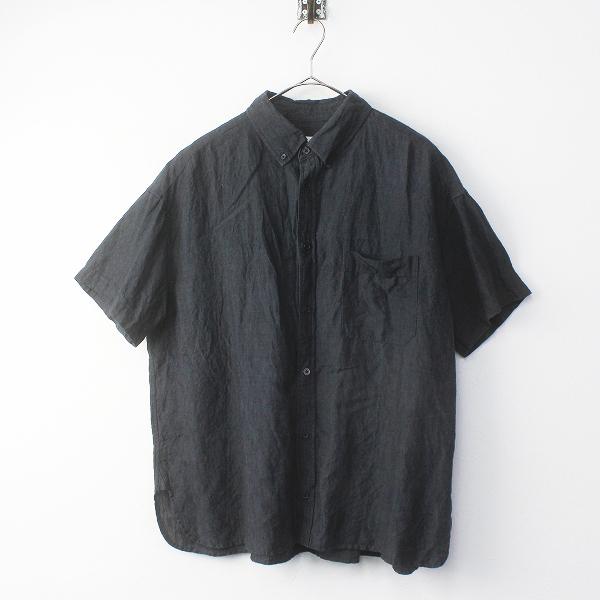 TOUJOURS トゥジュー リネン オーバーサイズBDシャツ FREE/ ダークグレー系 ビッグシルエットボタンダウンブラウス【2400011643384】