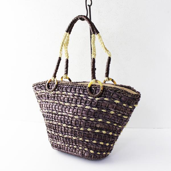 美品 SHIPS シップス レザー使い 編みトートバッグ/パープル ブラウン かごバッグ カバン かばん 籠 鞄【2400011645364】
