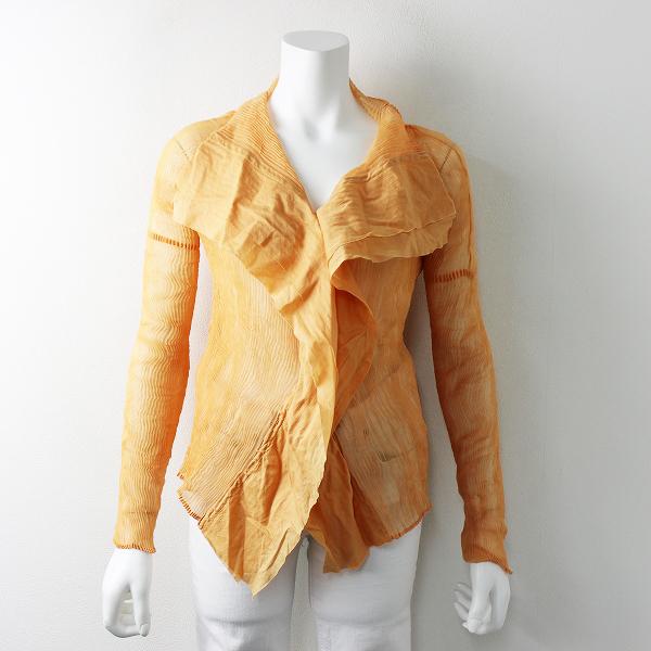 ISSEY MIYAKE イッセイミヤケ シースルー プリーツシャツ 2 / オレンジ ブラウス 羽織り トップス【2400011647184】