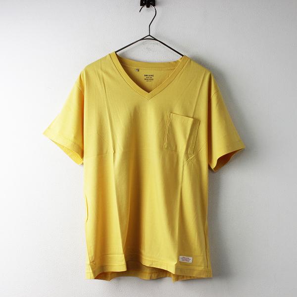 未使用 メンズ DELUXE デラックス CAPIRINHA Vネック Tシャツ L/イエロー トップス カットソー シンプル 半袖【2400011649683】