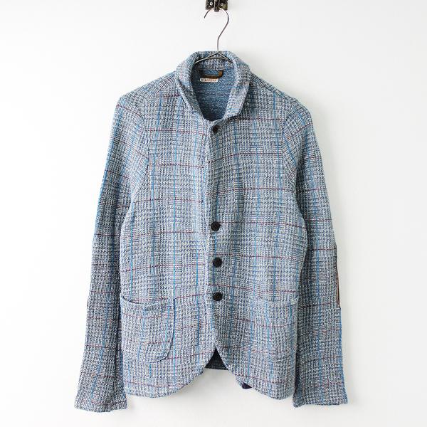 KAPITAL キャピタル チェック柄 レザーパッチ ニット ジャケット 1(S)/ブルー系 羽織り【2400011652157】