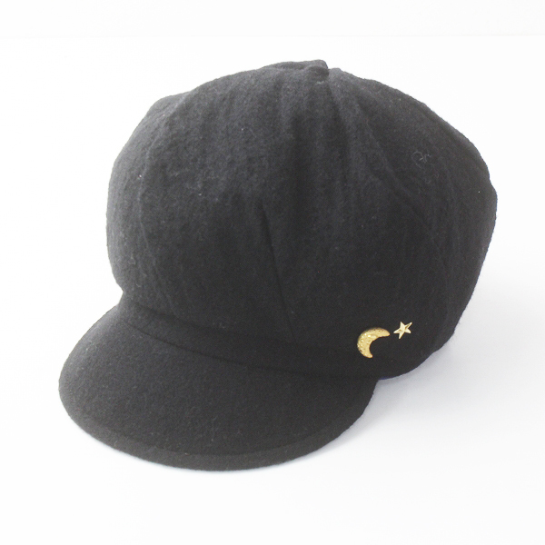 E-ZOO イーズー 月モチーフ 装飾 ウール キャスケット/ブラック【2400011652485】