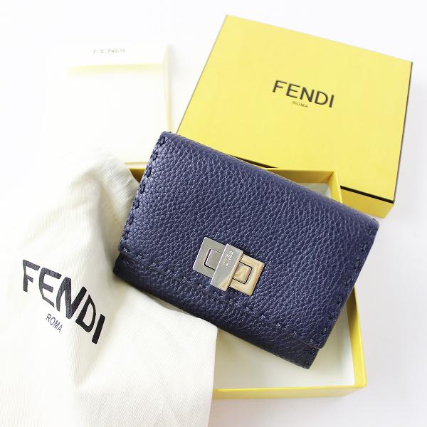 【期間限定20%OFF】FENDI フェンディ PEEKABOO ピーカブー 8M0359 2つ折り財布 / ネイビー ターンロック ウォレット セレリア【2400011652614】