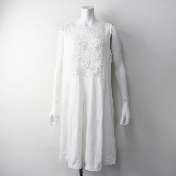 Rose Tiara ローズティアラ フラワーレース切替 カノココンビ ノースリーブワンピース42/ホワイト ドレス【2400011653130】