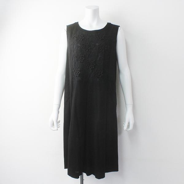 Rose Tiara ローズティアラ フラワーレース切替 カノココンビ ノースリーブワンピース42/ブラック ドレス【2400011653178】
