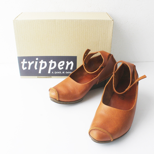 未使用 trippen トリッペン WAW アンクルストラップ レザーパンプス 37/ブラウン CUOIO 23.5~24.0cm【2400011653574】
