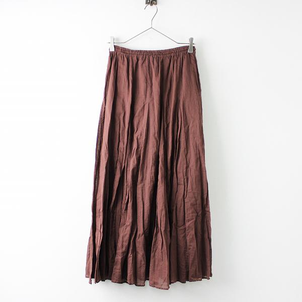 2019SS IENA イエナ 19060900900020 コットンボイル ギャザーパネル スカート 38/ブラウン 染色加工【2400011653581】-.
