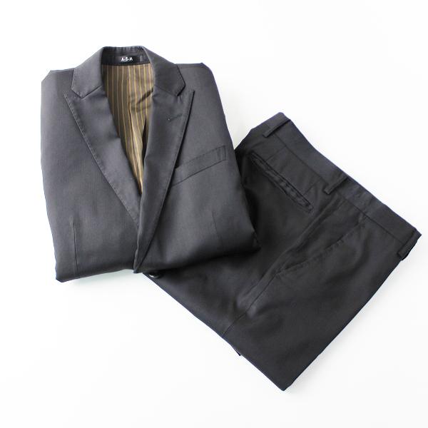 メンズ A.S.M アトリエサブメン シングル 2B ウール セットアップ パンツスーツ 上下 46/ブラック【2400011653758】