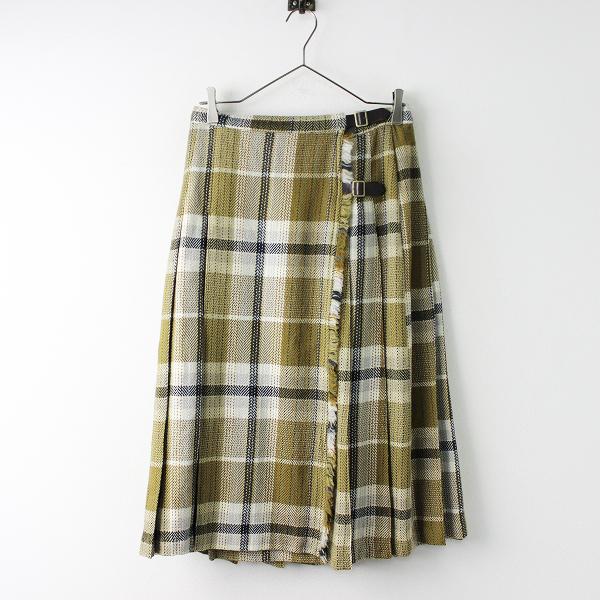 美品 定価2.4万 nest Robe ネストローブ ウール チェック キルト スカート F/ベージュ ボトムス ロング ペチコート付【2400011654083】