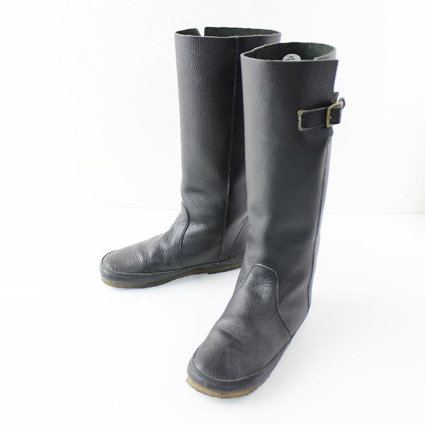 quatre feuilles カトルフィーユ ベルトデザイン レザーブーツ L/ブラック ロング クツ シューズ くつ 靴 【2400011654281】