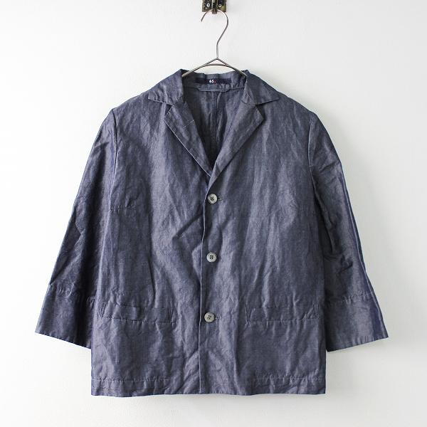 45R フォーティーファイブ インディゴ コットンリネン テーラード ジャケット 3/ネイビー トップス 羽織り【2400011655875】