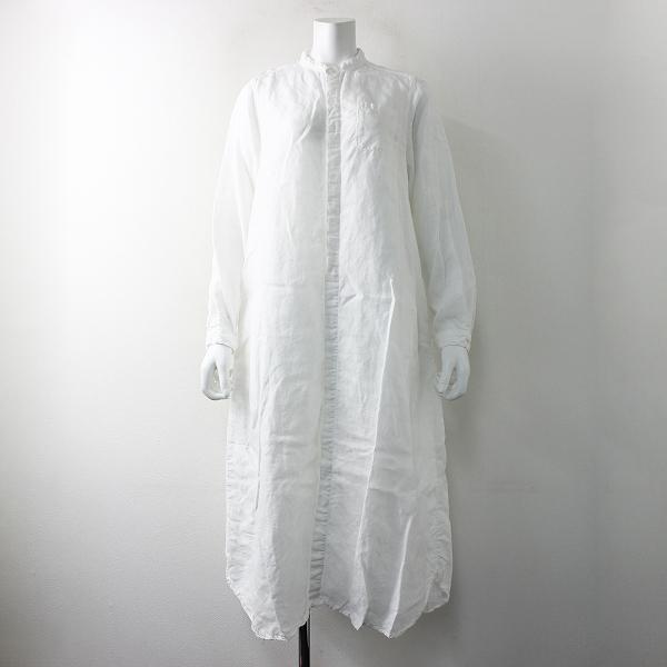 美品 2018SS nest Robe ネストローブ 01185-1175 リネンバンドカラーシャツワンピース FREE/ホワイト 麻 フレア【2400011656490】