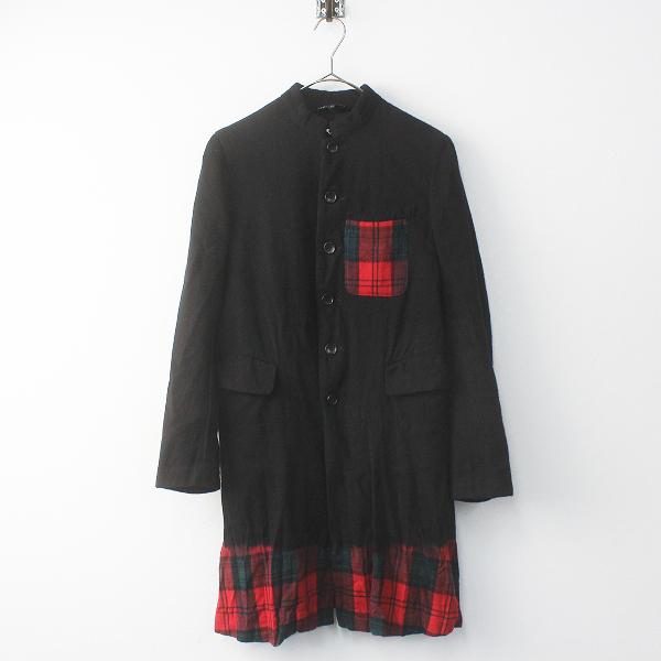 BLACK COMME des GARCONS ブラックコムデギャルソン AD2010 黒染めチェック ウールスタンドカラーコート XS / ブラック【2400011658579】