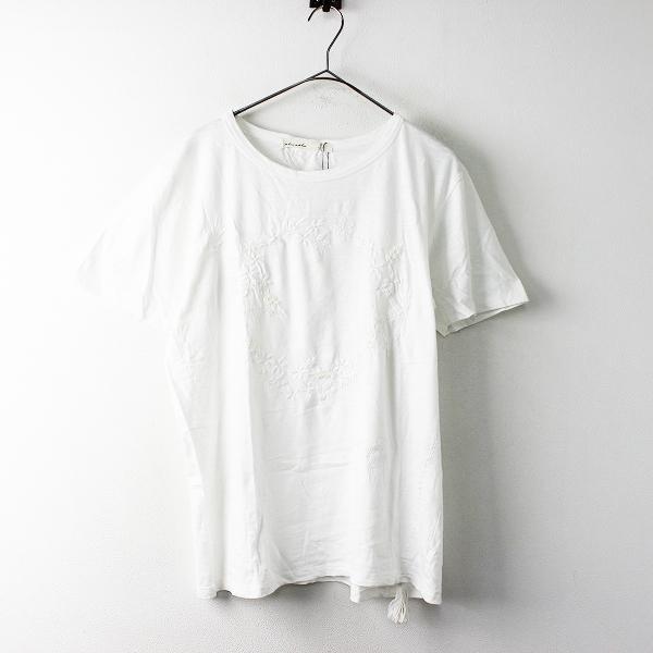 未使用 大きいサイズ AS KNOW AS olaca アズノゥアズ オオラカ O10969 WITH 刺繍 Tシャツ 15/オフホワイト【2400011665287】