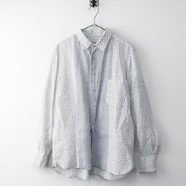 Vlas Blomme ヴラスブラム コルトレイクリネン フラワーXチェック切替 長袖シャツ 2/ホワイト ブラウス【2400011665485】