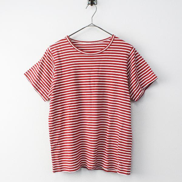 tamaki niime 玉木新雌 タマキニイメ ボーダーコットンTシャツ 2 / レッド カットソー【2400011666369】