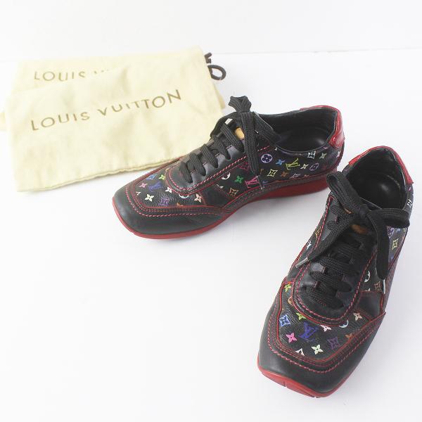 LOUIS VUITTON ルイヴィトン マルチ モノグラム レザー スニーカー 34ハーフ///ブラック 靴 シューズ【2400011666543】