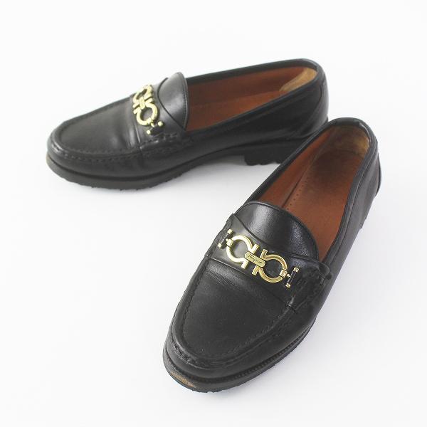 Salvatore Ferragamo サルヴァトーレ フェラガモ ガンチーニ レザー ローファー 5 1/2///ブラック シューズ 靴【2400011666604】