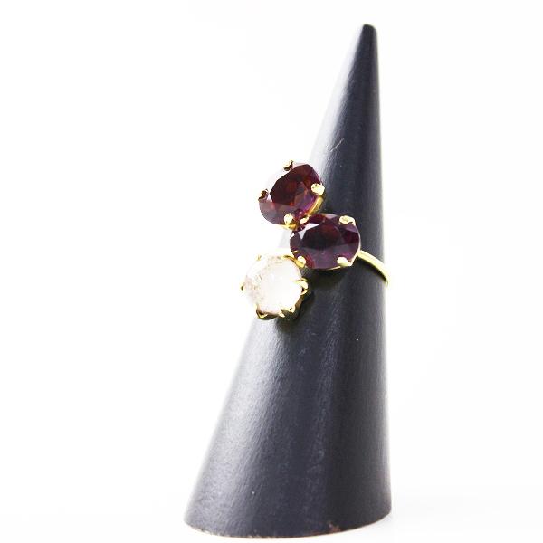 美品 petite robe noire プティローブノアー クリスタルリング イエローゴールド #14/指輪 小物【2400011667021】
