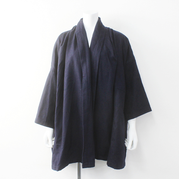 S.T.CLOSET FRABJOUS エスティクローゼットフラビシャス ウール混 オーバーサイズ羽織りコートFREE/ネイビー【2400011667830】