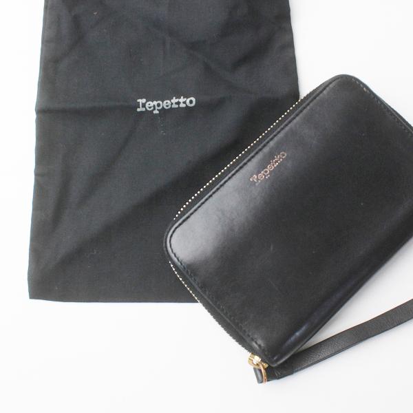 repetto レペット ラウンドファスナー レザー ウォレット /ブラック ピンク 財布 カードケース コインケース【2400011668349】