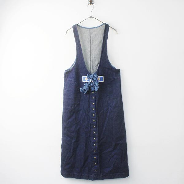PINK HOUSE リボンモチーフ デニムジャンパースカート Free / インディゴ ネイビー スナップボタン ジャンスカ【2400011668677】
