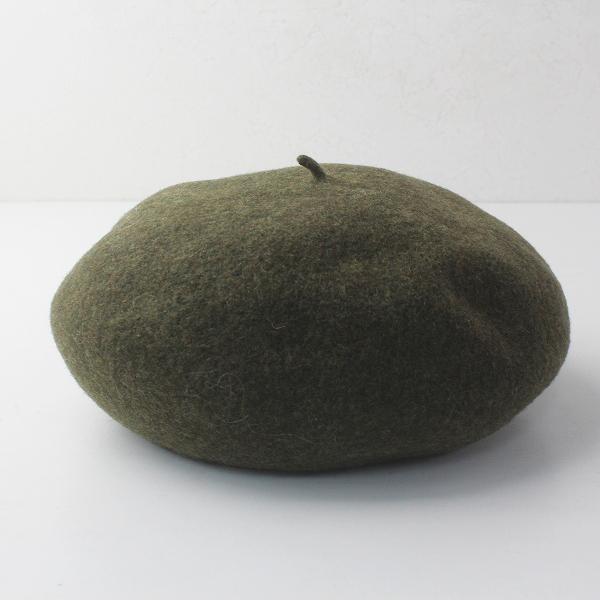 定番 人気 CA4LA カシラ メルトンウール ベレー帽/カーキ 帽子 圧縮ウール 縮絨 プレス【2400011670120】