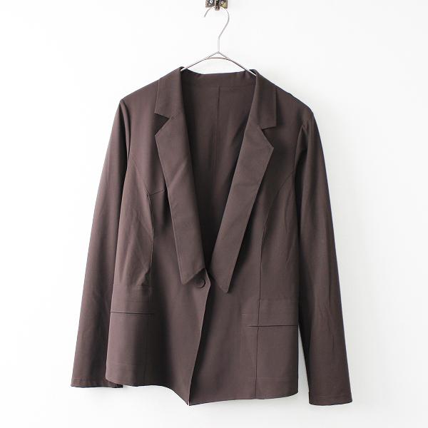 HIROKO KOSHINO ヒロココシノ ストレッチ 1ボタン ジャケット 38/ブラウン テーラード【2400011671981】