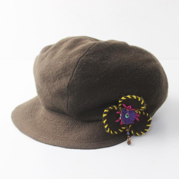 バラ色の帽子 ウール キャスケット/ブラウン フラワー ぼうし 帽子【2400011672124】