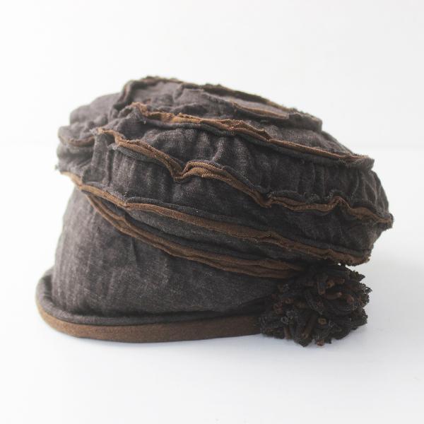 未使用 バラ色の帽子 ウール ワッチ キャップ/ブラウン ハンドメイド ぼうし 帽子【2400011672148】