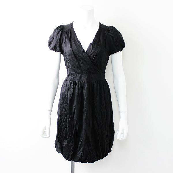 Lois CRAYON ロイスクレヨン ベルテッド パフスリーブ バルーンワンピース M / ブラック ドレス 春夏【2400011672520】