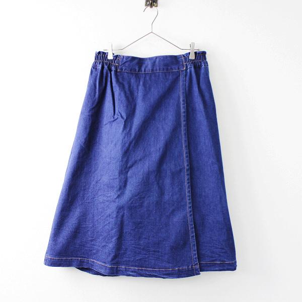 美品 大きいサイズ green[nout] グリーンノート ラップ調 デニム ロングスカート 15/ブルー【2400011674272】