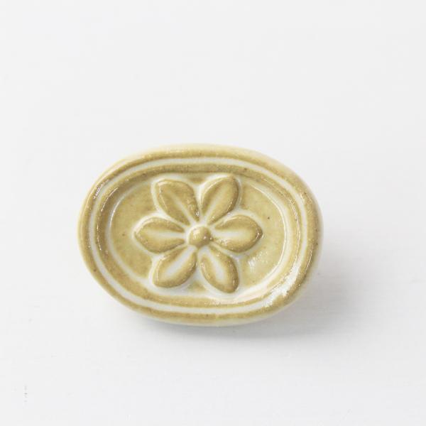 美品 作家 小菅幸子 花柄 陶器 ボタン/ベージュ フラワー 小物 【2400011674487】