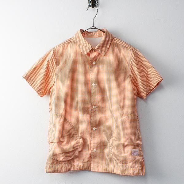 美品 快晴堂 カイセイドウ ギンガムチェック ショートスリーブ コットンシャツ 2 / オレンジ ブラウス【2400011674517】