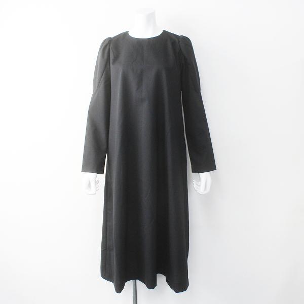 極美品 定3.7万 2019AW homspun ホームスパン ウールトロピカルクロスパフスリーブワンピースM/ブラック ドレス【2400011675125】