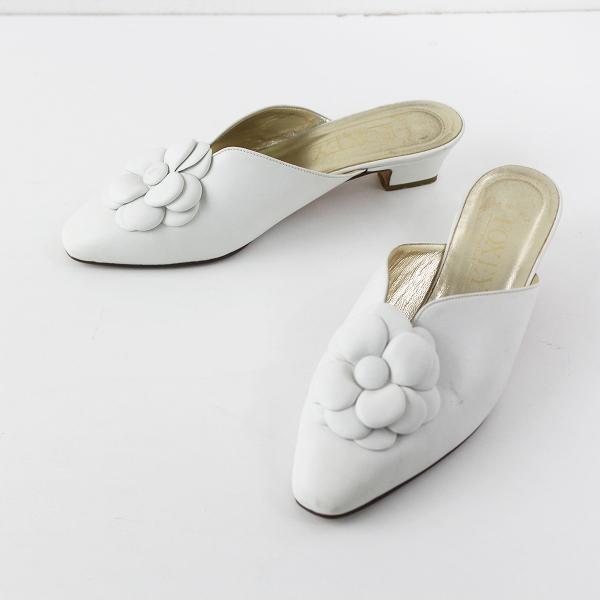 FOXEY フォクシー フラワーモチーフ レザー サンダル 35///ホワイト シューズ 靴【2400011675682】